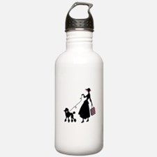 French Poodle Shopping Woman Water Bottle