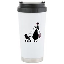 French Poodle Shopping Woman Travel Mug