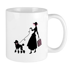French Poodle Shopping Woman Mugs