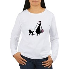 French Poodle Shopping Woman Long Sleeve T-Shirt