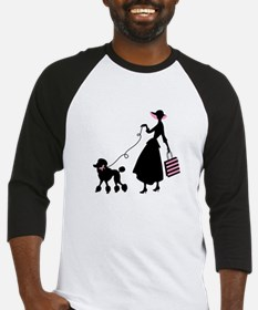 French Poodle Shopping Woman Baseball Jersey