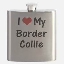 I Heart My Border Collie Flask