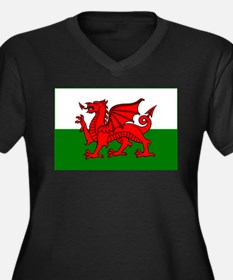 Wales Flag Women's Plus Size V-Neck Dark T-Shirt