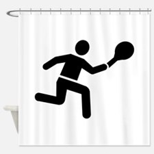 Tennis player logo Shower Curtain