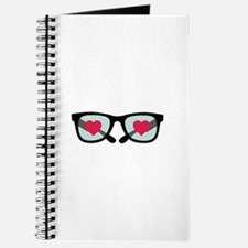 Hearts Love Glasses Journal