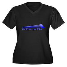 Live to Row Women's Plus Size V-Neck Dark T-Shirt