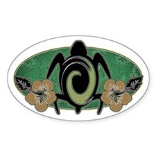 Tropical Turtle Oval Decal