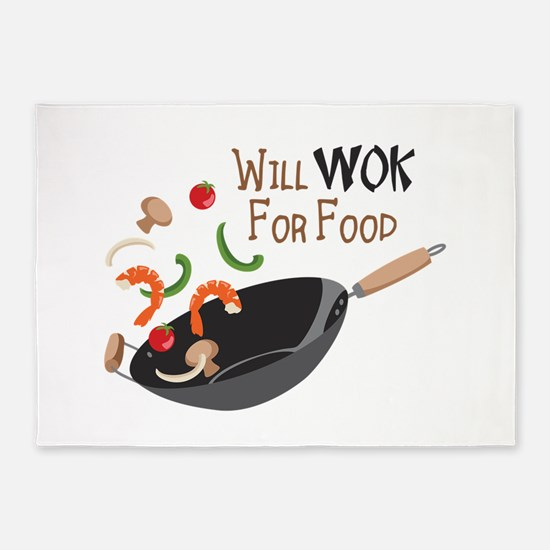 Will Work For Food 5'x7'Area Rug