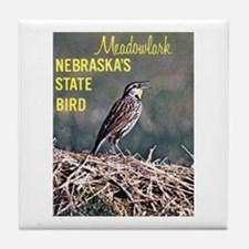 Meadowlark Bird Tile Coaster