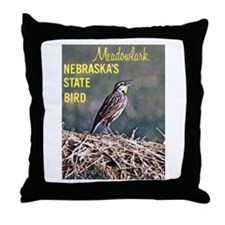 Meadowlark Bird Throw Pillow