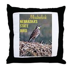 Meadowlark Bird Throw Pillow