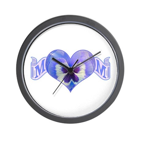 Mom's heart with pansy Wall Clock