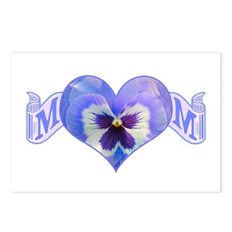 Mom's heart with pansy Postcards (Package of 8)
