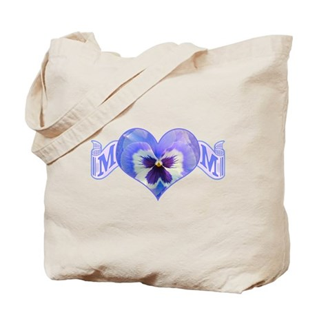 Mom's heart with pansy Tote Bag