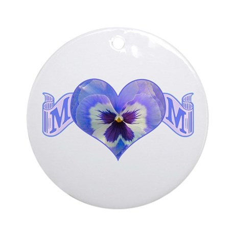 Mom's heart with pansy Ornament (Round)