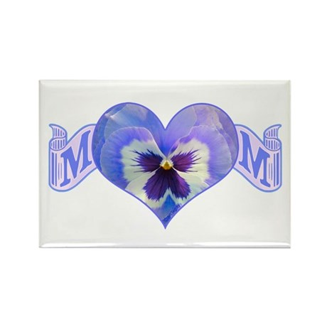 Mom's heart with pansy Rectangle Magnet