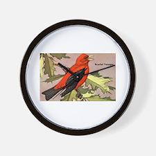 Scarlet Tanager Bird Wall Clock