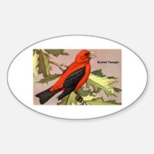 Scarlet Tanager Bird Oval Decal