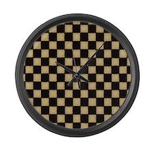 Warm Black and Tan Checkerboard Large Wall Clock