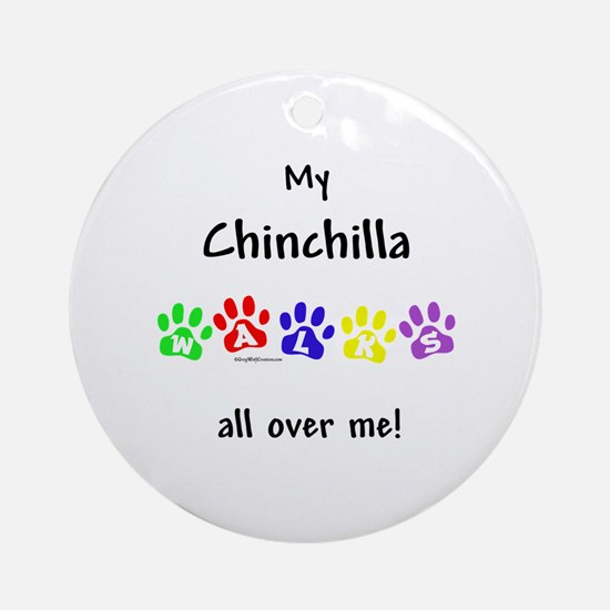 Chinchilla Walks Ornament (Round)