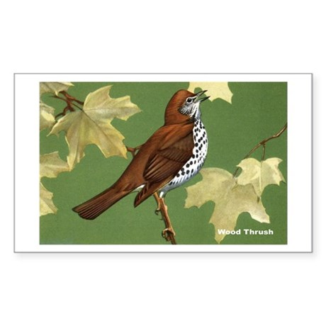 Wood Thrush Bird Rectangle Sticker