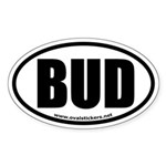 BUD Oval Bumper Sticker (thick font)