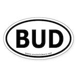 BUD Oval Car Sticker (thin font)