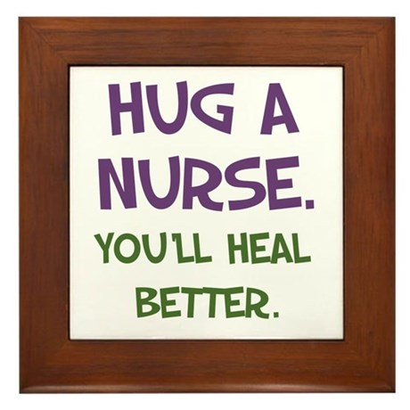 Hug a Nurse Framed Tile