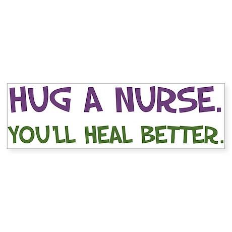 Hug a Nurse Bumper Sticker