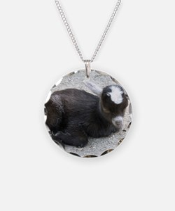 Curled Up Baby Goat Necklace Circle Charm