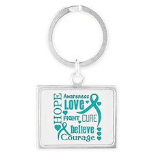 Ovarian Cancer Hope Landscape Keychain