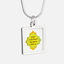 Peace is the Flower Silver Square Necklace