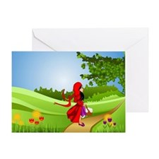 Little Red Riding Hood Taking a Walk Greeting Card