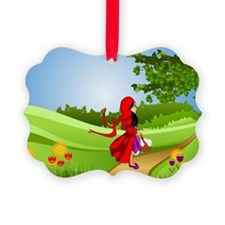 Little Red Riding Hood Taking a W Ornament