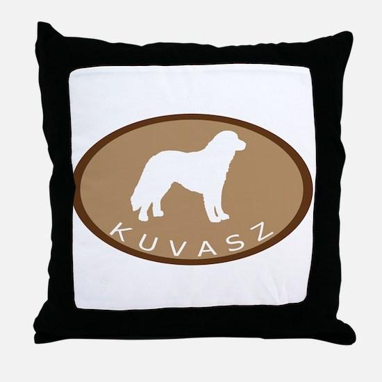 Kuvasz (brown oval) Throw Pillow