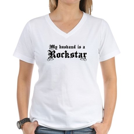 My Husband is a Rockstar Women's V-Neck T-Shirt