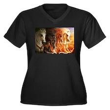 Unique Oilers Women's Plus Size V-Neck Dark T-Shirt