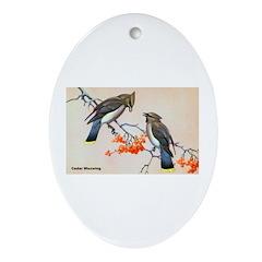Cedar Waxwing Bird Oval Ornament