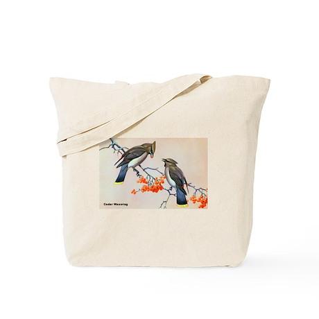 Cedar Waxwing Bird Tote Bag