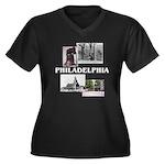 ABH Philadel Women's Plus Size V-Neck Dark T-Shirt