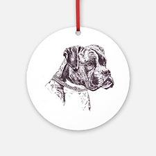 Boxer Dog Portrait Ornament (Round) Ornament (Roun
