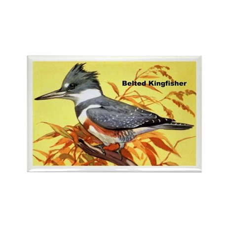 Belted Kingfisher Bird Rectangle Magnet (10 pack)