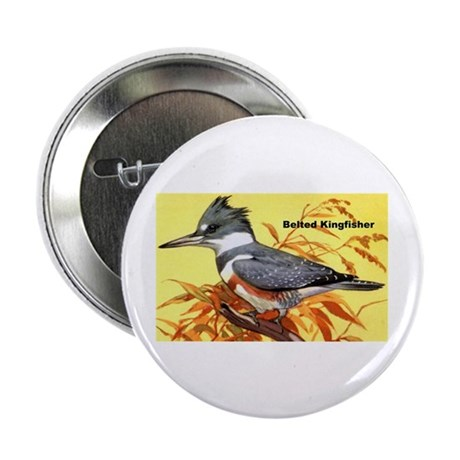 """Belted Kingfisher Bird 2.25"""" Button (10 pack)"""