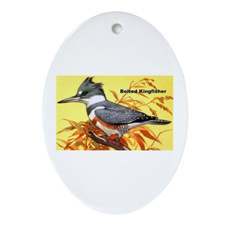 Belted Kingfisher Bird Oval Ornament