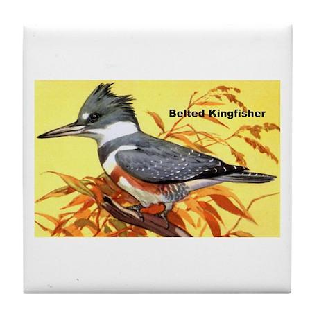 Belted Kingfisher Bird Tile Coaster