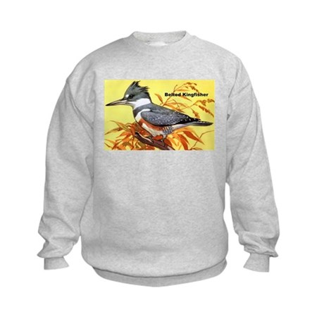 Belted Kingfisher Bird (Front) Kids Sweatshirt
