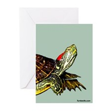 Sassy Red Eared Slider Turtle Greeting Cards (Pk o