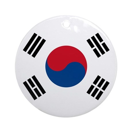 South Korea Flag Ornament Round By Worldonashirt