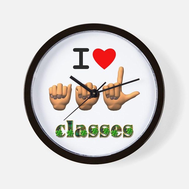 I Love ASL Classes Wall Clock