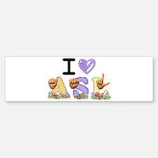 I Love ASL & Spring Flowers Bumper Bumper Bumper Sticker
